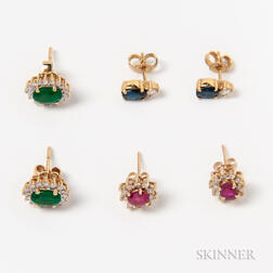 Three Pairs of 14kt Gold Gem-set Earstuds