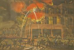 Framed Hand-colored Lithograph Depicting Firefighting