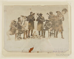 Guarantee Photo Studio Image of WWI African American Soldiers Playing Brass Instruments