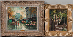 Two Framed Oils Featuring Flowers:     Jean Salabet (French, b. 1900), Flower Market at La Madeleine