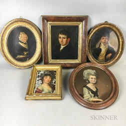 Five Small Framed Portraits on Tin, Panel, and Canvas