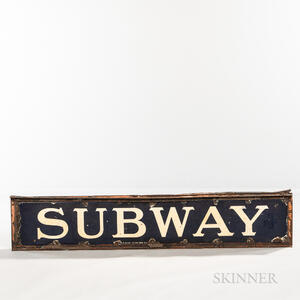 "Blue and White Enamel ""SUBWAY"" Sign"