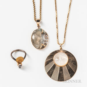 Two 14kt Gold and Moonstone Necklaces and a Moonstone Ring