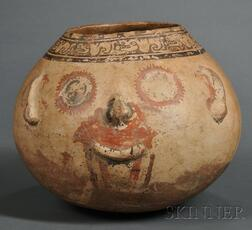 Pre-Columbian Polychrome Pottery Effigy Vessel