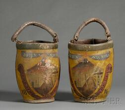 Pair of Polychrome Painted Leather Fire Buckets