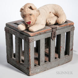 Toy Tiger in a Gray-painted Cage