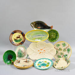 Twelve Majolica Plates and Trays