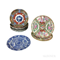 Eight Imari and Rose Medallion Porcelain Plates