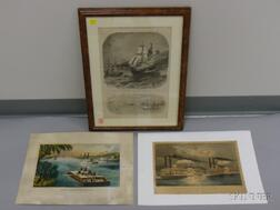 Lot of Three Works on Paper:  Two Currier & Ives Hand-colored Lithograph Bound Down the River