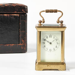 Miniature Time-only Carriage Clock and Carrying Case