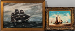 Two Framed Oils Depicting Sailing Vessels:    Vivian Forsythe Porter (American, 1880-1982), Clipper Ship Under Sail