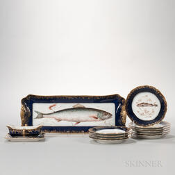 Twelve-piece Haviland Limoges Porcelain Fish Set
