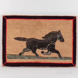 Large Hooked Rug with Trotting Horse