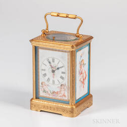 Engraved Grand Sonnerie Porcelain Panel Carriage Clock