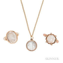 Group of Gold and Moonstone Jewelry