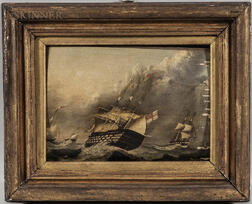 British School, 19th Century      Royal British Navy Warship in a Squall