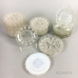 Thirty Sandwich Heart-decorated Colorless Pressed Glass Cup Plates.     Estimate $200-300