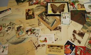 Assorted Lot of Christmas Cards, Postcards, Japanese Woodblock Prints, and a Framed   Moth