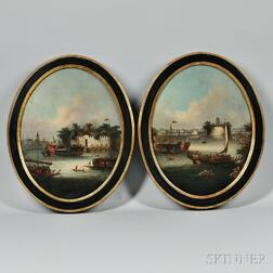Chinese School, Late 19th Century      Pair of Paintings of Harbor Activities