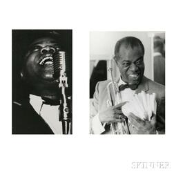 Various Photographers, including Arthur Fellig, called Weegee (Austrian/American, 1899-1968) Ten Press Pictures of Louis Armstrong, 194