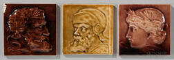 Three J. & J.G. Low Art Tile Works Art Pottery Portrait Tiles