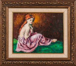 Robert Philipp (American, 1895-1981)    Seated Red-haired Model with a Pink Drape