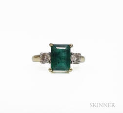 14kt Gold, Emerald, and Diamond Ring