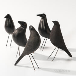 Five Carved and Black-painted Crow Decoys