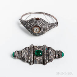 Sterling Silver and Rhinestone Wristwatch Bangle and a Rhinestone and Green Stone Costume Brooch