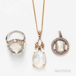 Carved Moonstone Ring and Two Pendants