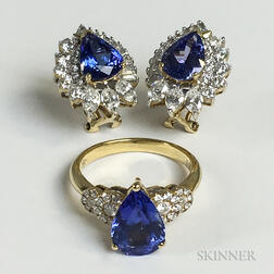 18kt Gold, Tanzanite, and Diamond Ring and a Pair of 14kt Gold, Tanzanite, and Diamond Earrings