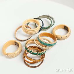 Group of Vintage Celluloid and Rhinestone Bangles