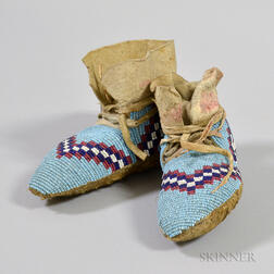 Pair of Blackfeet Child's Beaded Hide Moccasins