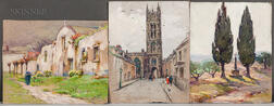 Mabel May Woodward (American, 1877-1945)    Three Watercolors: Nun by a Chapel ,  Church Town (Charleston, South Carolina)