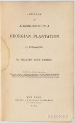 Kemble, Frances Anne (1809-1893) Journal of a Residence on a Georgian Plantation in 1838-1839.