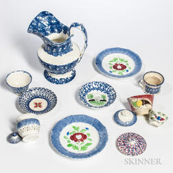 Twelve Spatterware Table Items