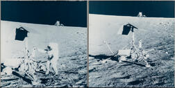 Apollo 12, Astronaut Charles Conrad Jr. with the Surveyor 3 Spacecraft and the Surveyor 3 Spacecraft with the Lunar Module in the...