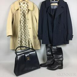 Burberry Brit Cotton Jacket, Coach Trench Coat, Lanvin Leather Tote Bag, and a Pair of Italian Black Leather Boots
