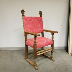 Baroque Upholstered Carved Walnut Armchair