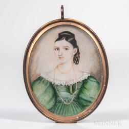 American School, Mid-19th Century      Miniature Portrait of Margaretta McEwen Gillespie