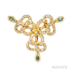 14kt Gold, Diamond, and Emerald Snake Pendant/Brooch