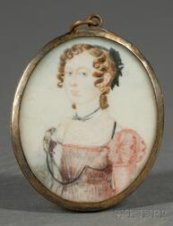 Portrait Miniature of a Blue-eyed Young Woman Wearing a Pink Gown