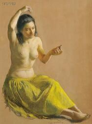 Ivan Gregorewitch Olinsky (American, 1878-1962)      Seated Female Nude in a Chartreuse Skirt