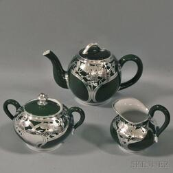 Three-piece Silver Overlay and Ceramic Tea Service