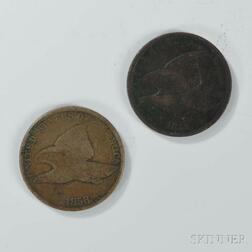 1858 Small Letter Flying Eagle Cent and an 1858 Large Letter Flying Eagle Cent