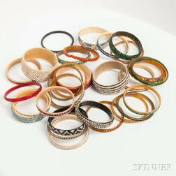 Approximately Thirty Celluloid and Rhinestone Bangles