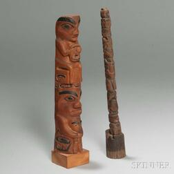 Two Northwest Coast Carved Wood Model Totem Poles