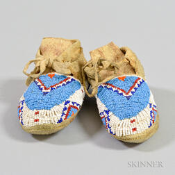 Pair of Sioux Beaded Hide Child's Moccasins