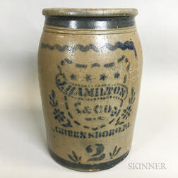 J. Hamilton & Co. Cobalt-decorated Two-gallon Stoneware Advertising Crock