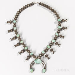 Navajo Mercury Dime Squash Blossom Necklace